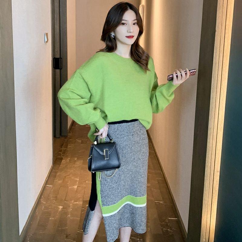 ラウンドネックセーター+パネルニットスカート(3colors)