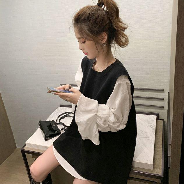 トランペットスリーブシャツ+ノースリーブニットベスト(2colors)