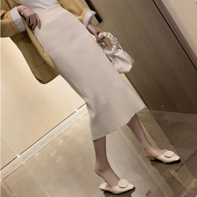 ハイウエストリブニットスカート(3colors)
