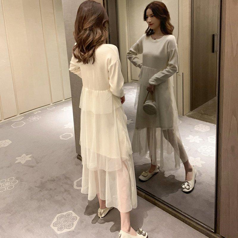 メッシュステッチニットドレス(2colors)