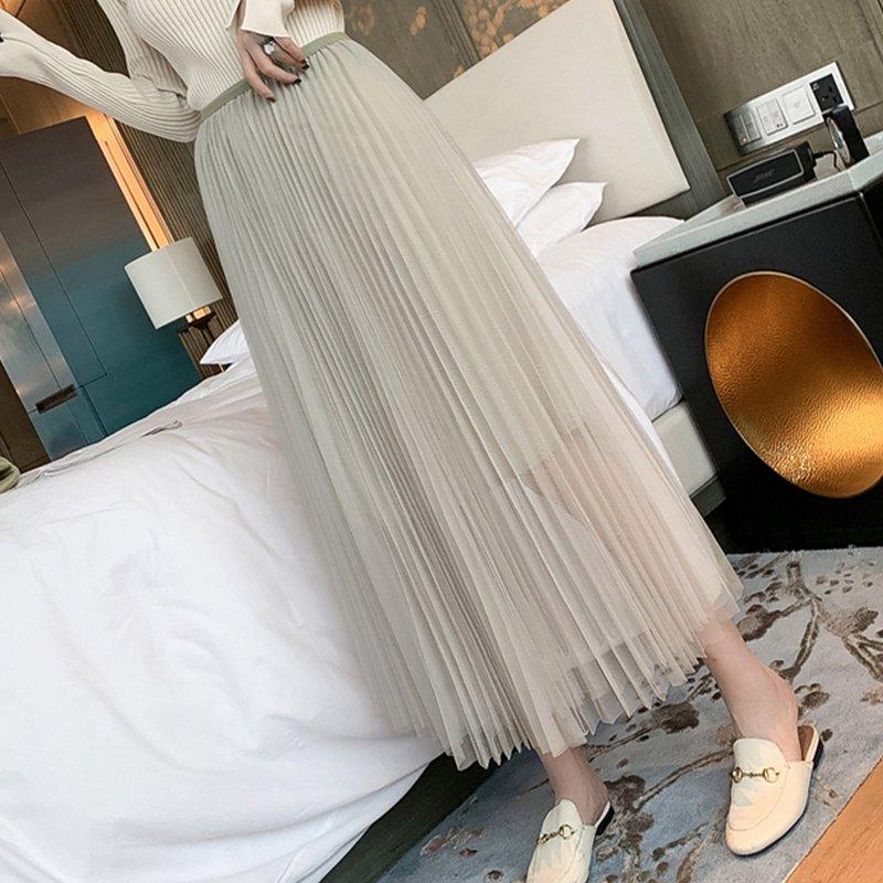 チュールプリーツマキシスカート