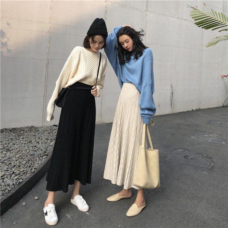 ハイウエストフレアニットロングスカート(2colors)