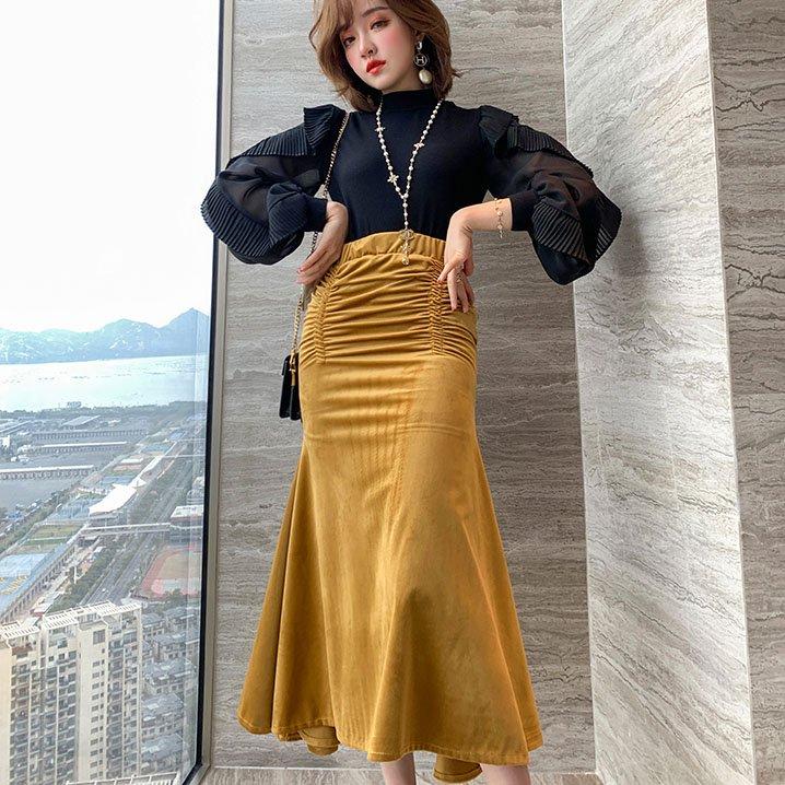 ベロアハイウエストマイメードスカート(2colors)