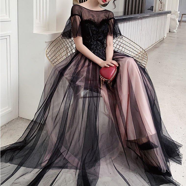 ブラックチュールパーティドレス(4design)