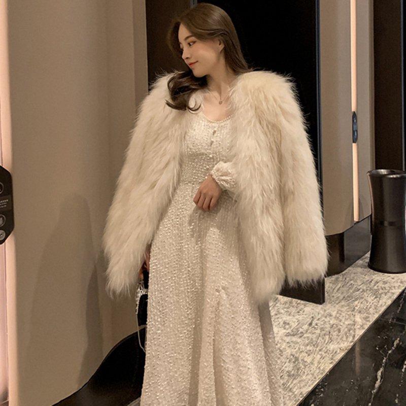 ランタンスリーブミドル丈ドレス