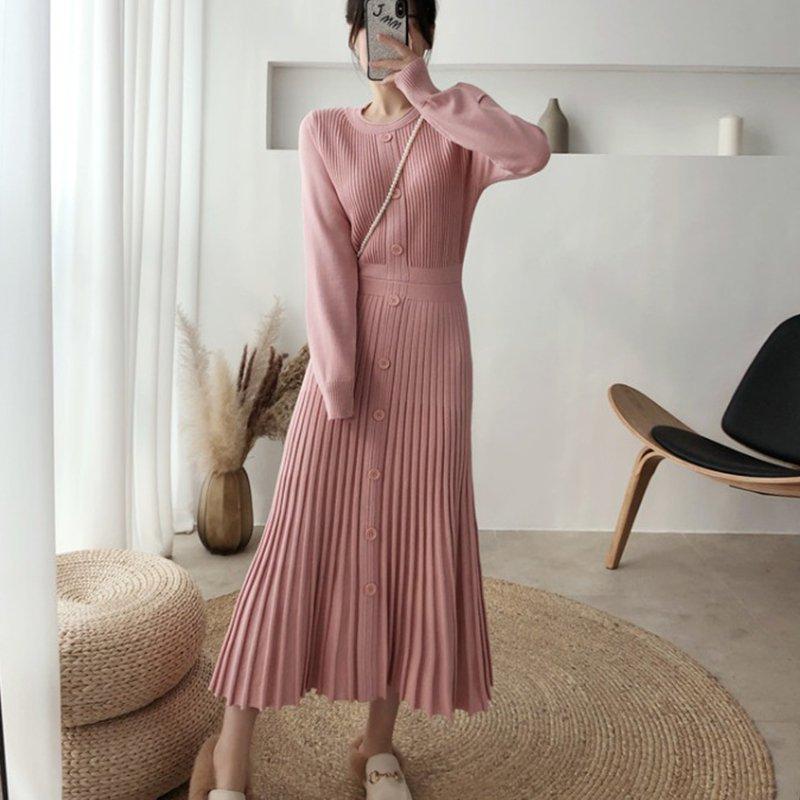 フロントボタンダウンニットドレス(2colors)