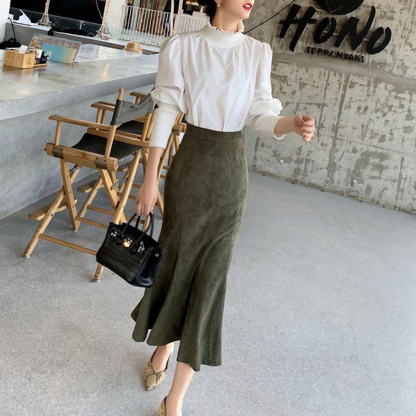ミモレ丈マーメイドスカート(2colors)