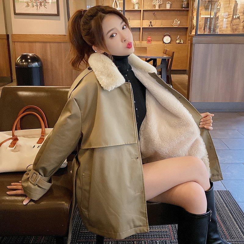 【即納】ファー襟ミドル丈ジャケット