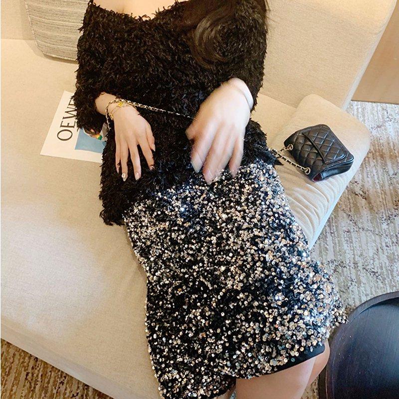 ミモレ丈スパンコールタイトスカート