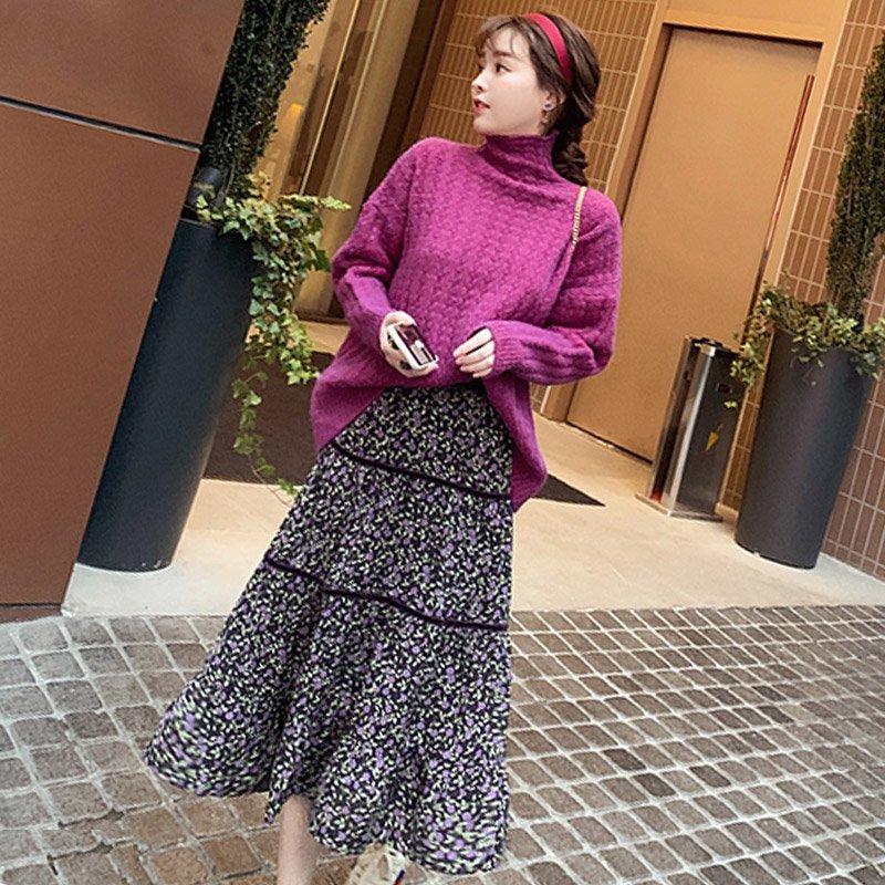 小花柄ティアードロングスカート(3colors)