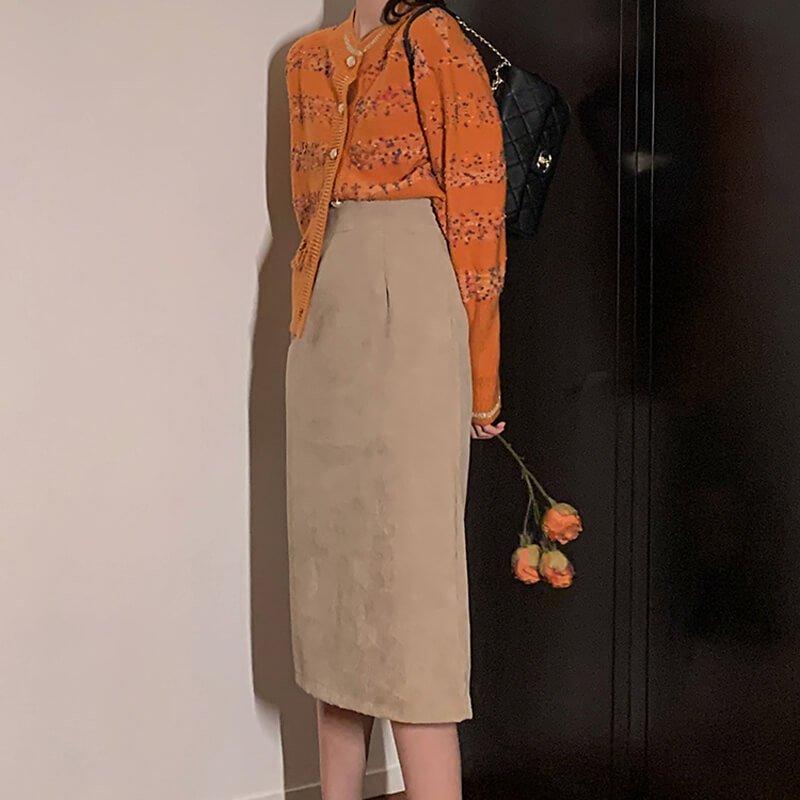 コーデュロイタイトスカート(2colors)