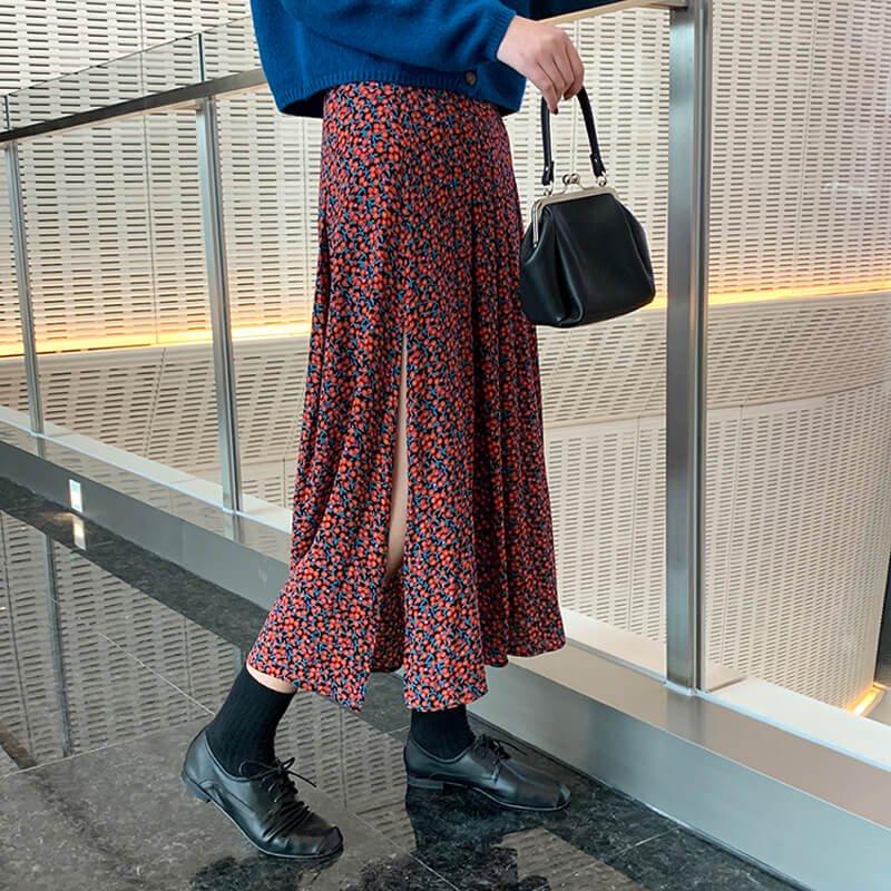 小花柄スリットスカート