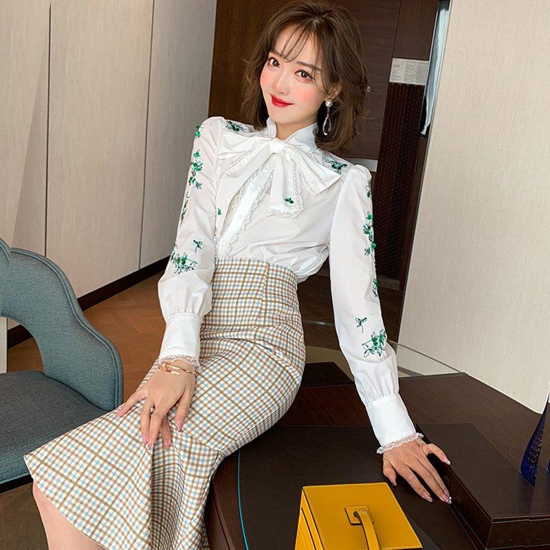 【即納】スパンコール刺繍ブラウス×フィッシュテールスカート