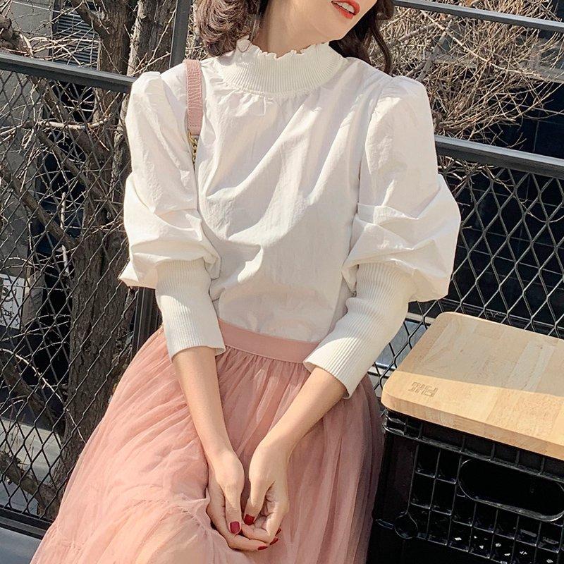 フリル襟ボリューム袖ブラウス(2colors)