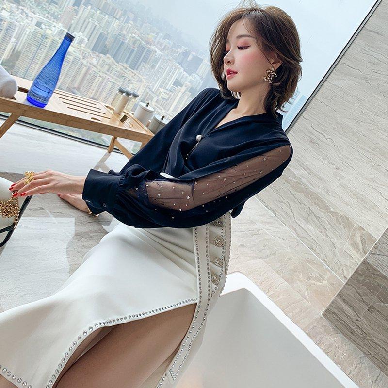 ボリューム袖スターオーガンジートップス×ラインストーン付きスリットスカート