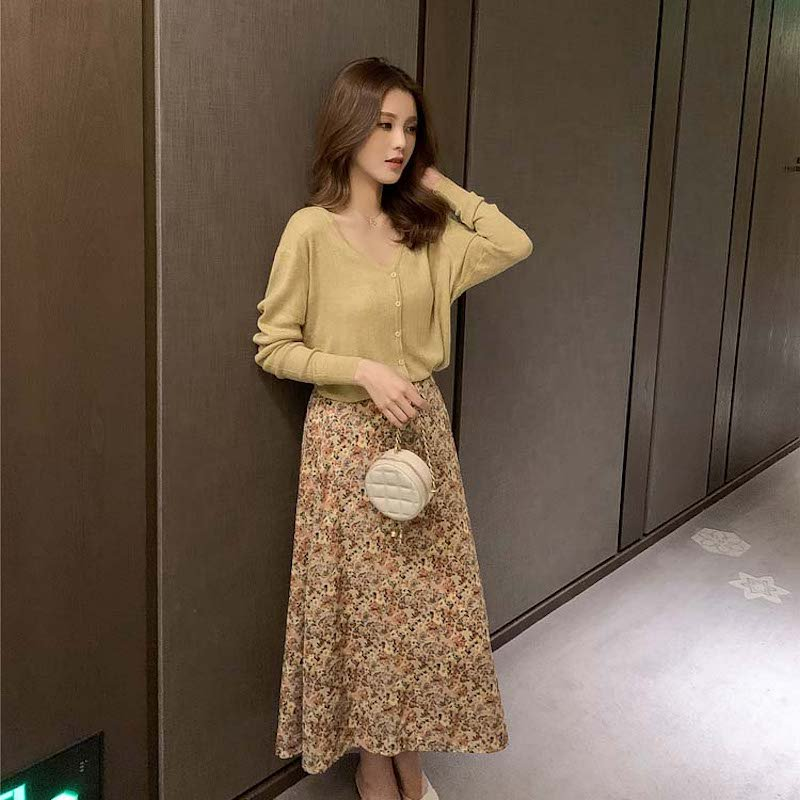 スプリングカラーニット+花柄シフォンスカート(2colors)