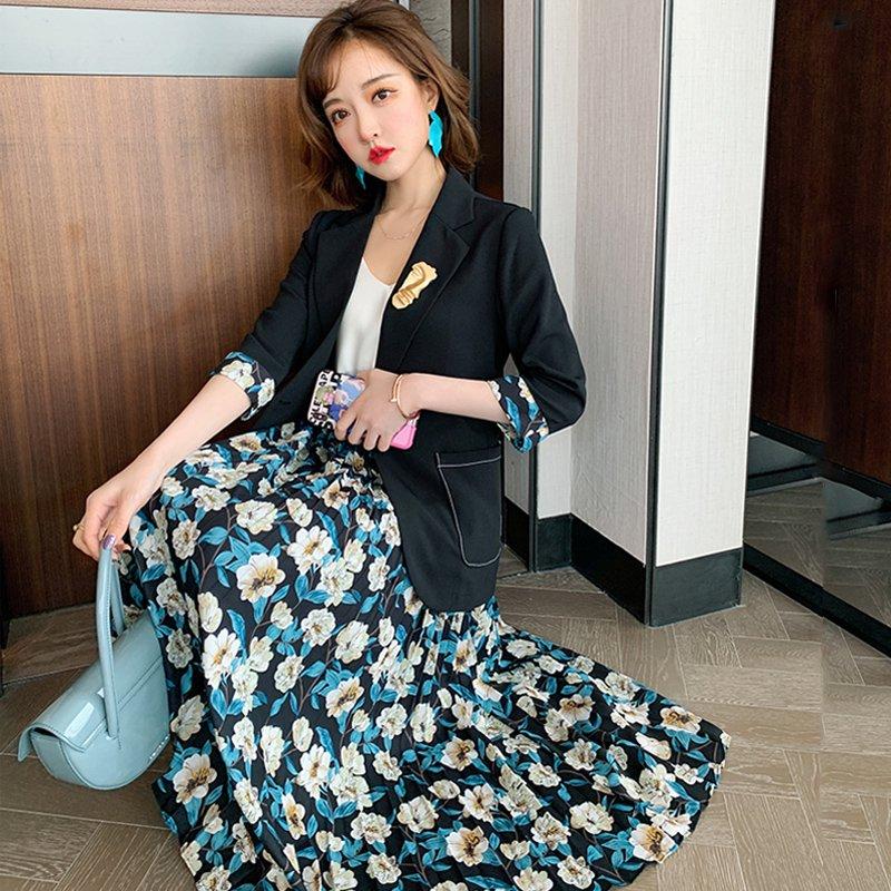 テーラードジャケット×花柄プリーツスカート(2colors)