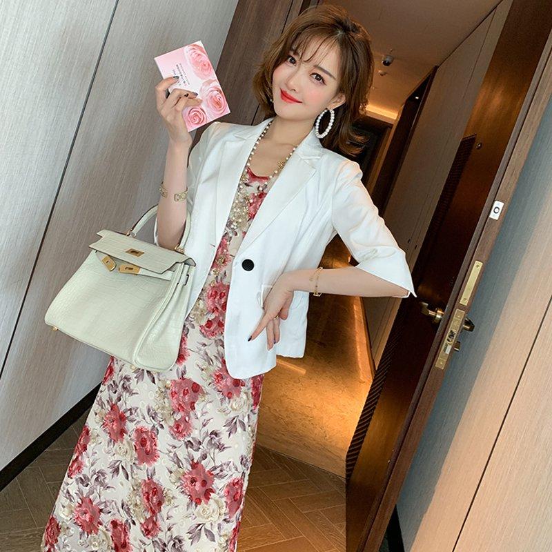 レトロ花柄キャミワンピース×五分袖テーラードジャケット