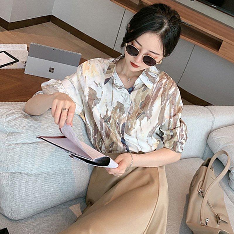長袖ゆったり柄シャツ(3colors)