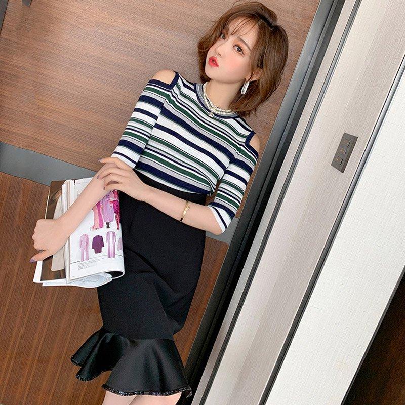 オープンショルダーニットトップス×マーメイドスカート【上下別売り可】