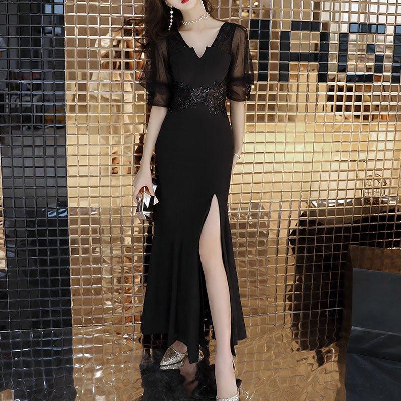 【即納】スリットマーメイドラインイブニングドレス