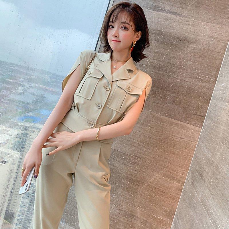 胸ポケット付き開襟ブラウス×テーパードパンツ(2colors)