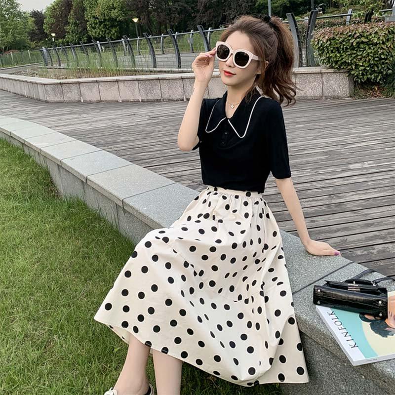 【即納】ヴィンテージライク配色ステッチポロシャツ×ドットスカート