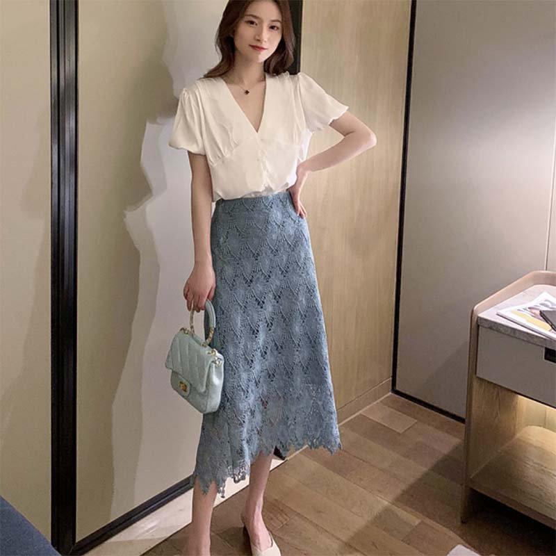 ロングレースタイトスカート(2colors)