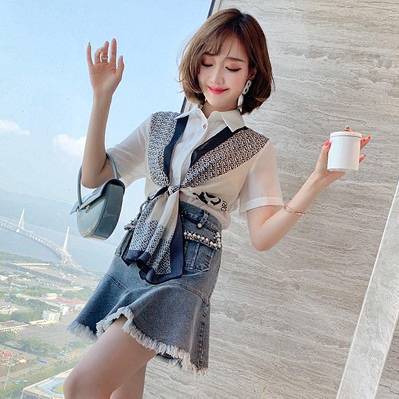スカーフ付きブラウス×マーメイドミニスカート【上下別売り可】