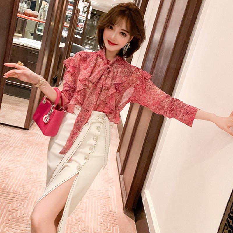 【即納】ボウタイフリル花柄ブラウス×ラインストーンスリットスカート【上下別売り可】