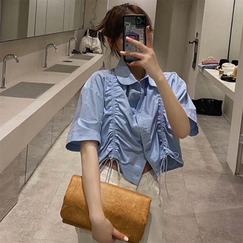 サックスブルーギャザーシャツ