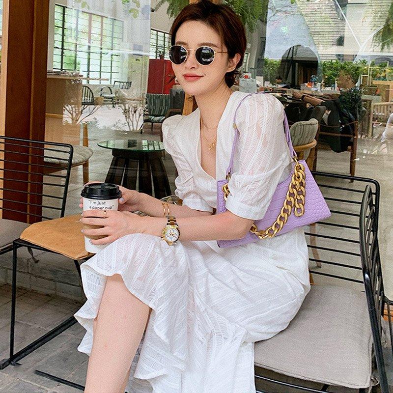 パフスリーブ裾フリルワンピース(2types)