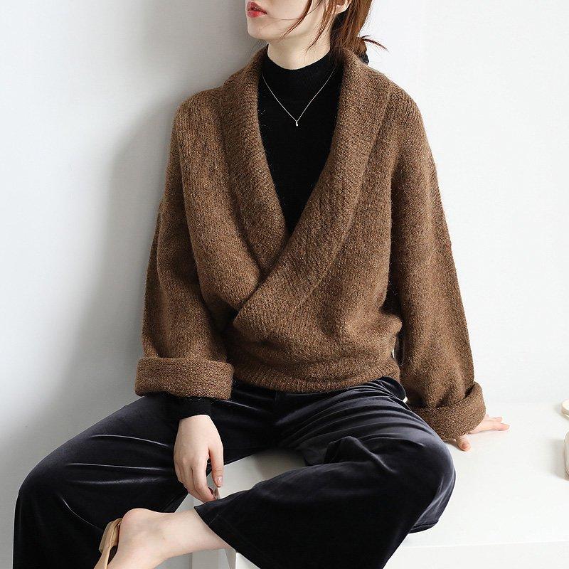 カシュクールドロップショルダーセーター(2colors)