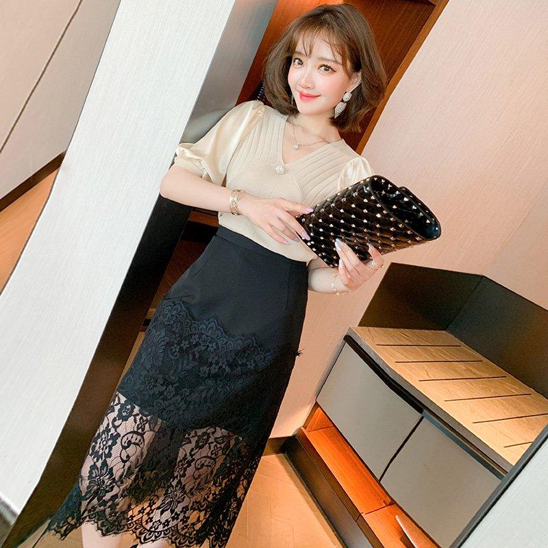異素材ドッキングニットトップス×レース切り替えスカート【上下別売り可】