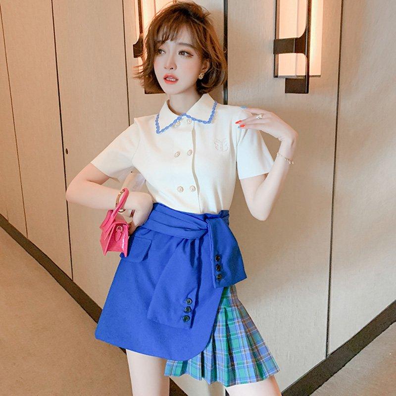 ダブルボタンニットシャツ×ラップ風プリーツドッキングスカート【上下別売り可】