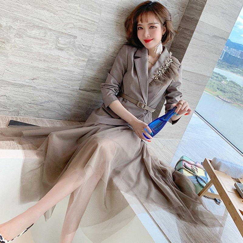 ベルト付きアシメジャケット×アシメチュールスカート(2colors)
