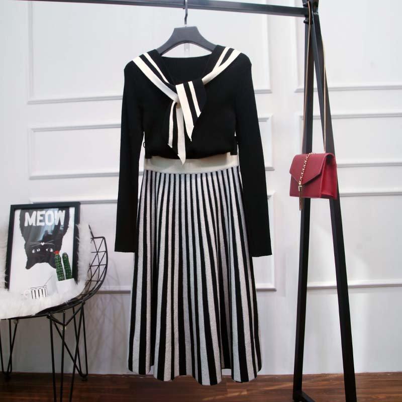 バイカラーリボンタイトップス×プリーツスカート(2colors)