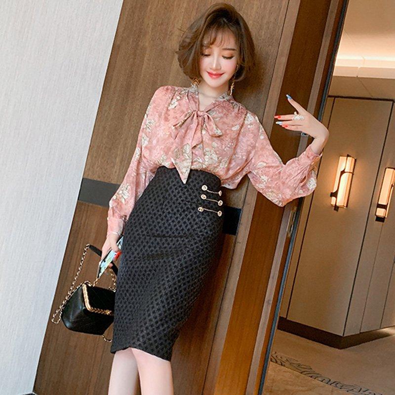 花柄ボウタイブラウス×ジャガード風タイトスカート【上下別売り可】