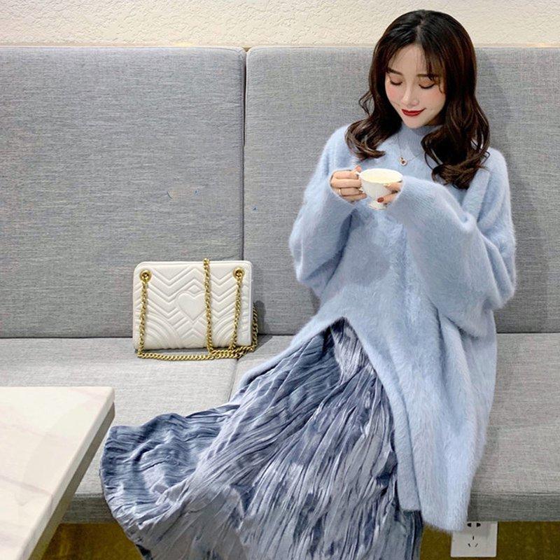 【即納】ロングニット×プリーツスカート(2colors)