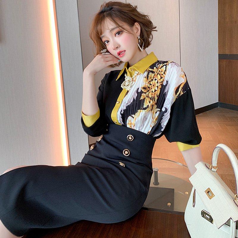 アシメプリントシャツ×フロントボタンタイトスカート【上下別売り可】