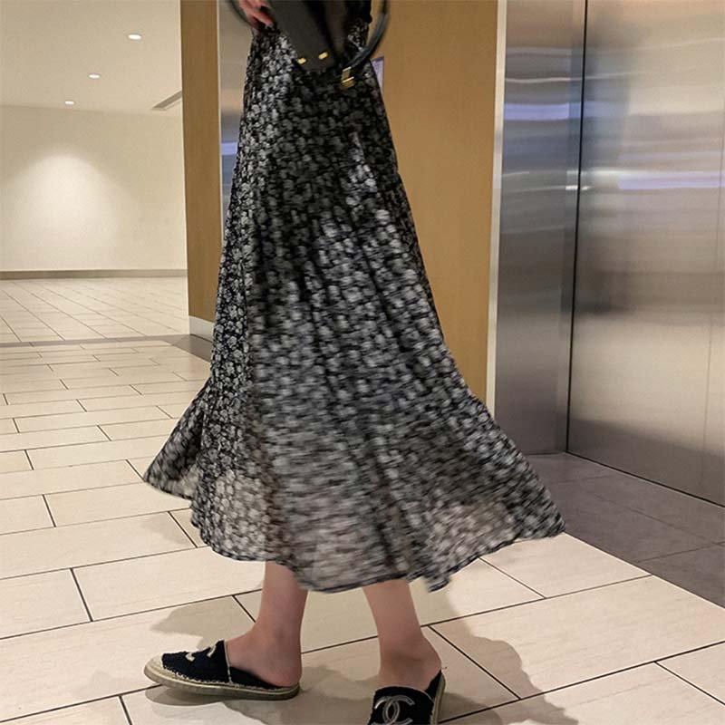 シアーシフォン小花柄マキシスカート