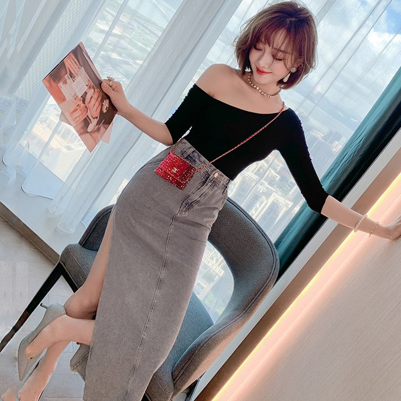 【即納】ワンショルダートップス×深めスリットデニムスカート