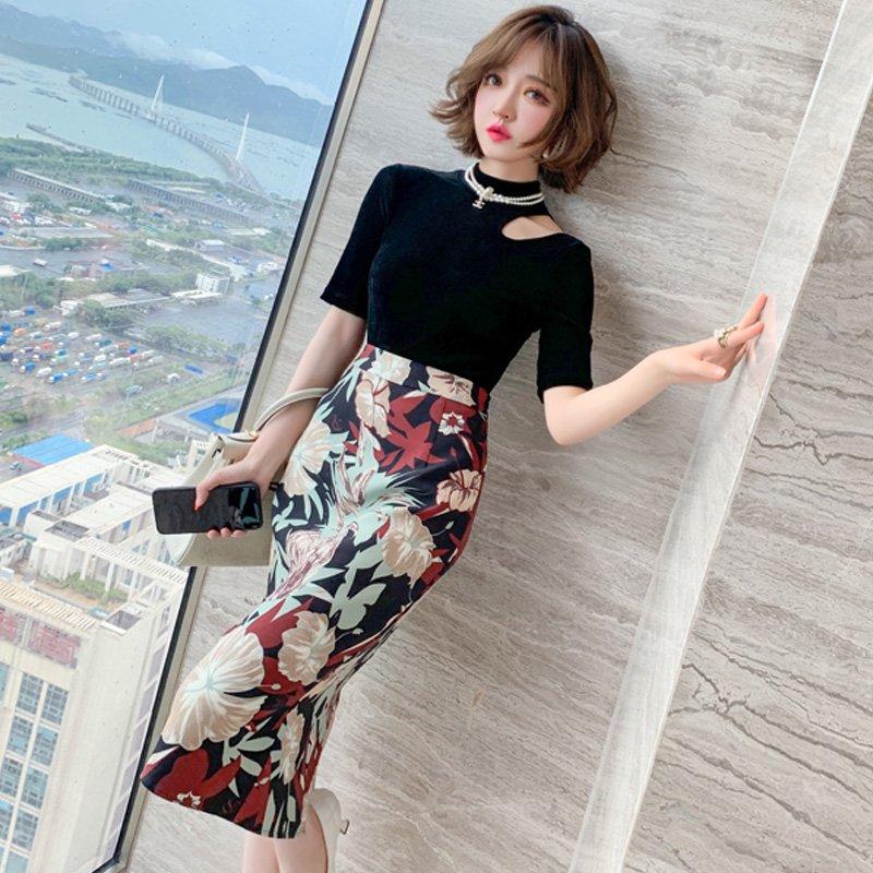 アシメオープンネックニットトップス×フラワープリントタイトスカート【上下別売り可】