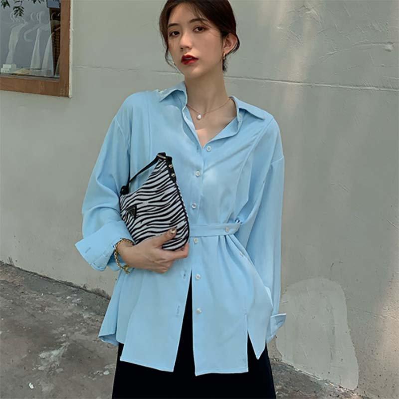 ミドル丈ウエストマークシャツ(2colors)