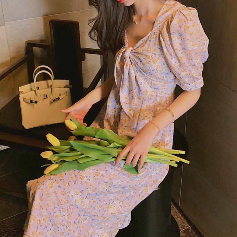 【即納】花柄シフォンワンピース