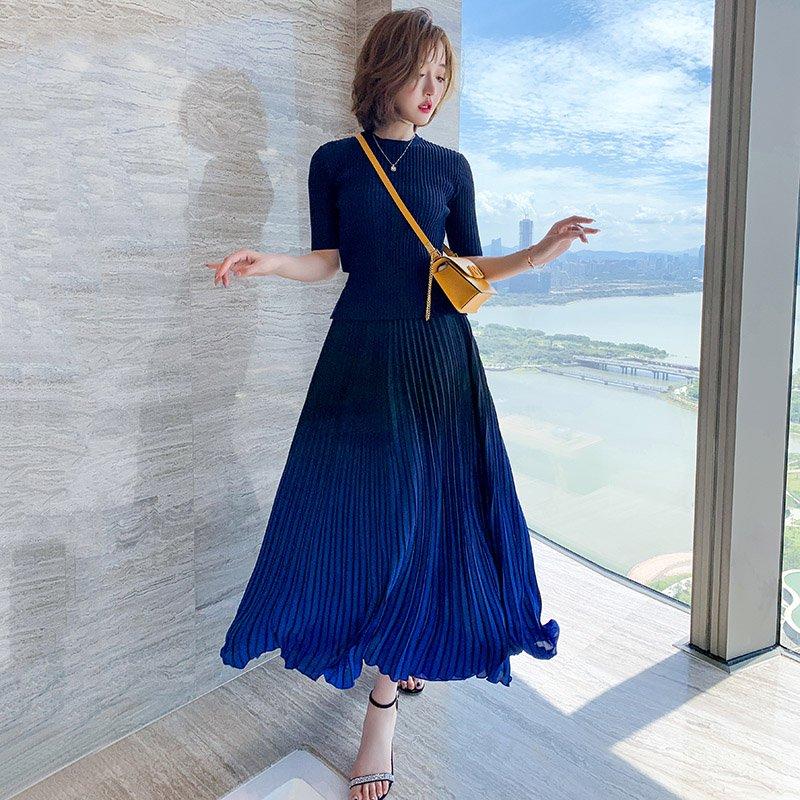 【即納】バックリボンリブニットトップス×グラデーションプリーツスカート