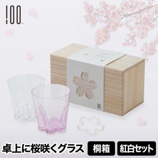グラスの結露で卓上に桜の花が咲く結露を美しく見せるグラス さくらさくロックグラス 紅白セット箱入り ギフトやお祝いにピッタリ