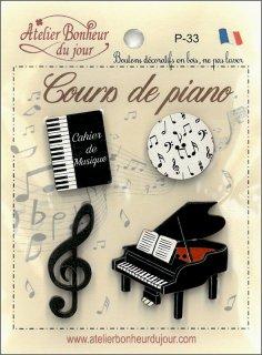 フランス 木製ボタンセット - ピアノレッスン
