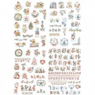 クリスマスのミニパターンの特別な物語 65のモチーフ図案