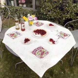 テーブルクロス Strawberry & Raspberry (ストロベリーとラズベリー) クロスステッチキット
